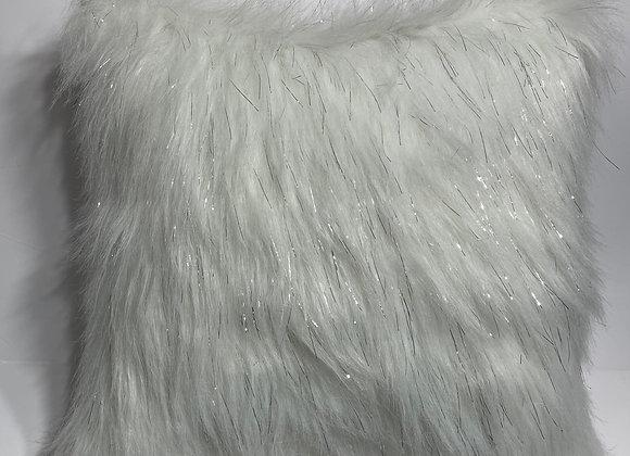 White Silver Metallic Fashion Faux Fur Throw Pillow
