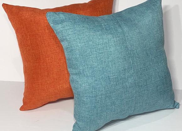 Aqua and Papaya Linen Pillow Set