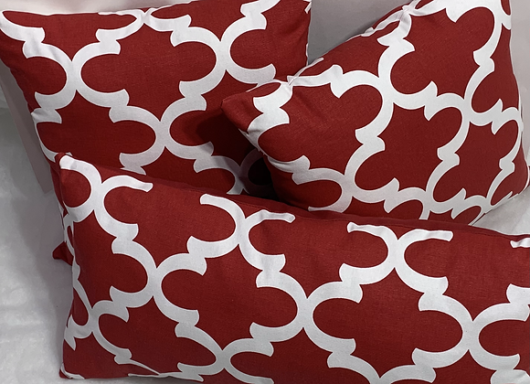 Red and White Fynn Lipstick Pillow Set