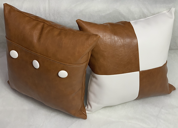"16"" Caramel and Cream Pillow Set"