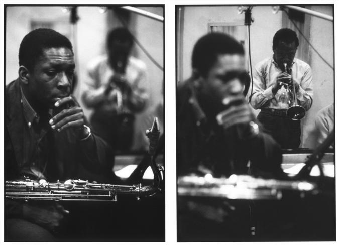 © Don Hunstein, 1959  Source:   https://www.morrisonhotelgallery.com/photographs/IpQKfo/Miles-Davis--John-Coltrane-New-York-City-1959