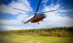 Helicopter arriving in Camp - Russia
