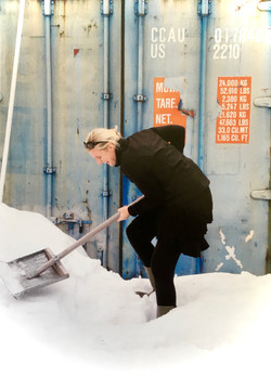 Shovelling in Russia early summer