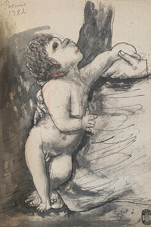 Study 3/5according to Raphael's painting « The beautiful gardener »