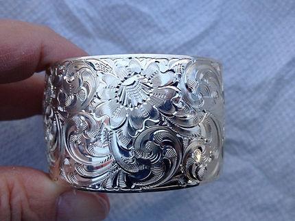 custom hand scrolled cuff bracelet