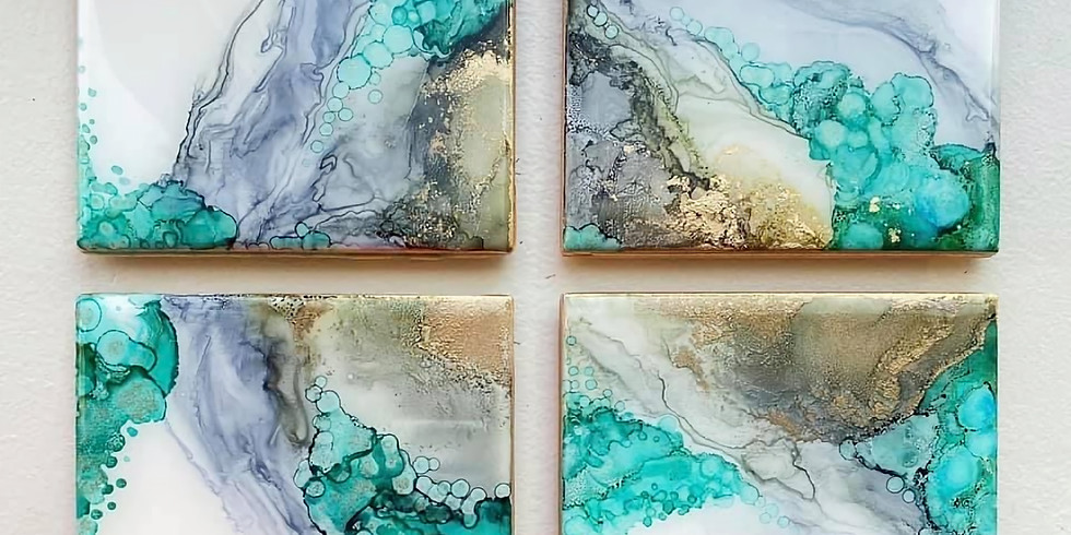 GOODNA - STUDIO - Learn to make 'Luxe', Ink and resin coasters!