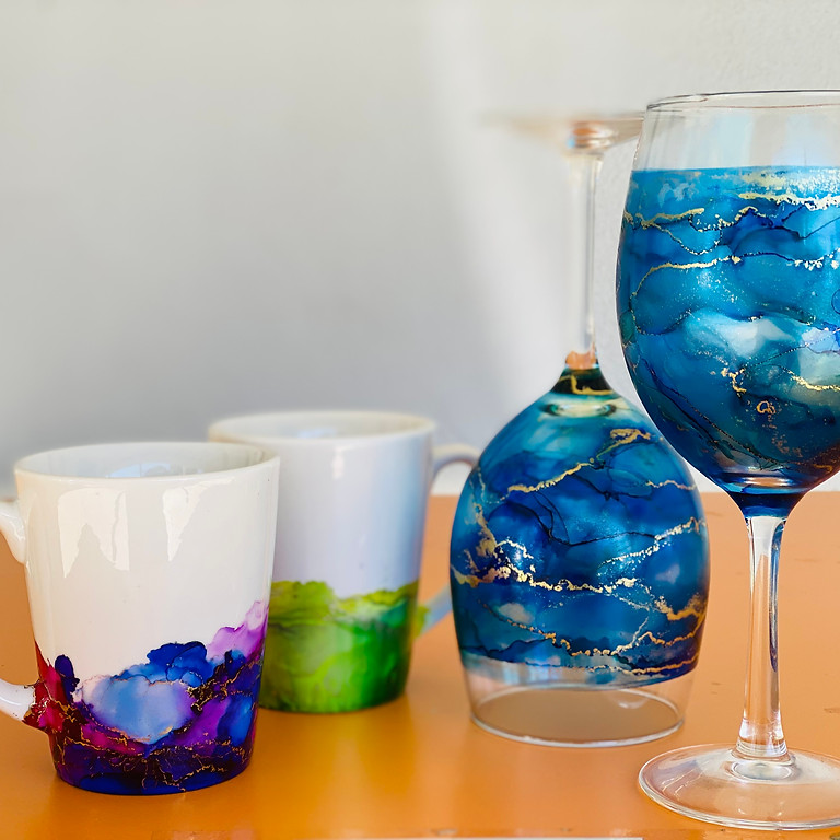 Coffee Club Hyperdome - Learn to make alcohol ink decorated mugs OR wine glasses!