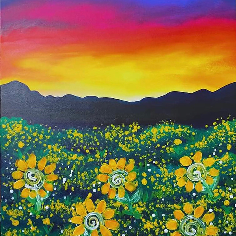 Coffee Club Hyperdome - Learn to paint 'Sunflower Field'