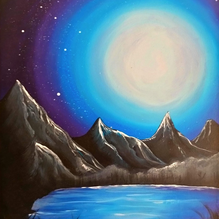 Coffee Club Hyperdome - Learn to paint 'Moonlight Lake'