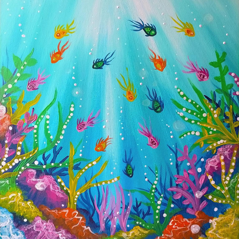 Coffee Club Browns Plains - Learn to paint 'Underwater Paradise'