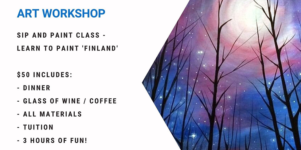 Grab a glass of wine and learn to paint 'Finland'!