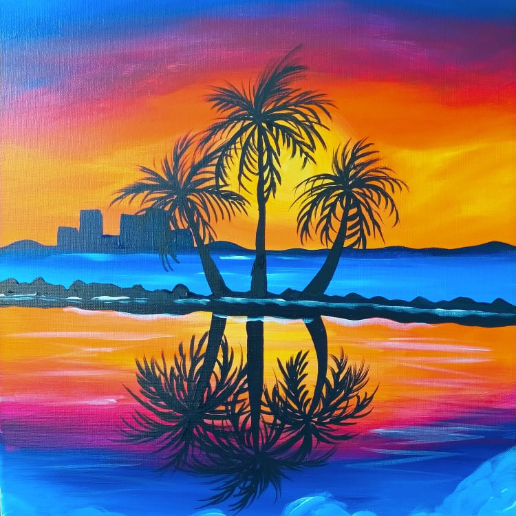Coffee Club Browns Plains - Learn to paint 'Palm Reflections'