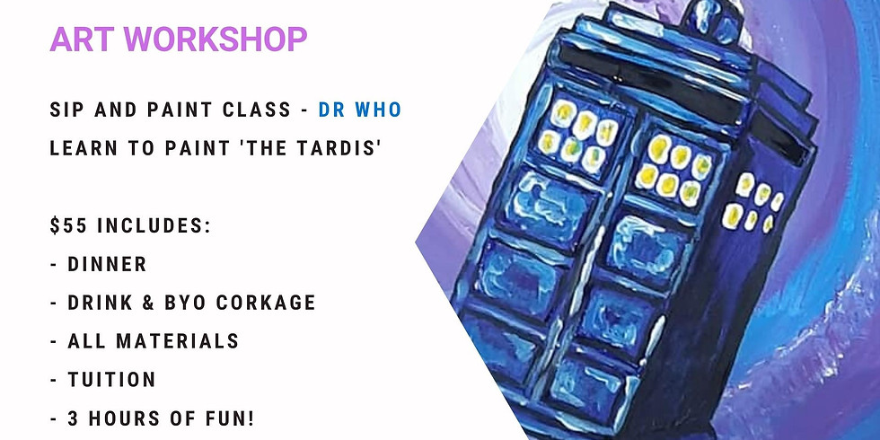 Grab a glass of wine and learn to paint Dr. Who!