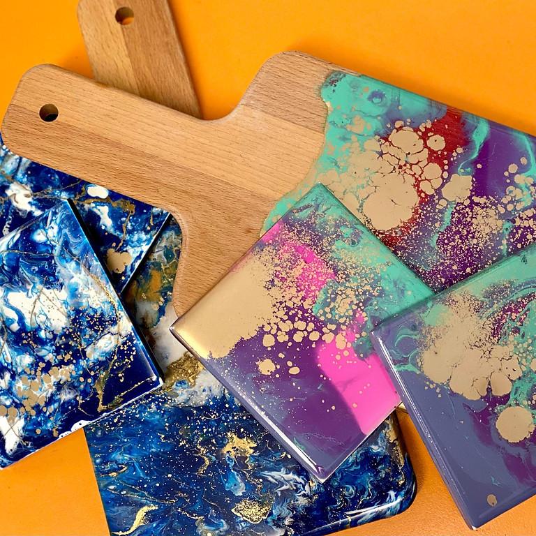 Coffee Club Hyperdome - Learn to make a mini resin snackboard and coasters!