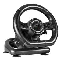 Black Bolt Racing Wheel for PC with Vibration Effects and Pedals, Black