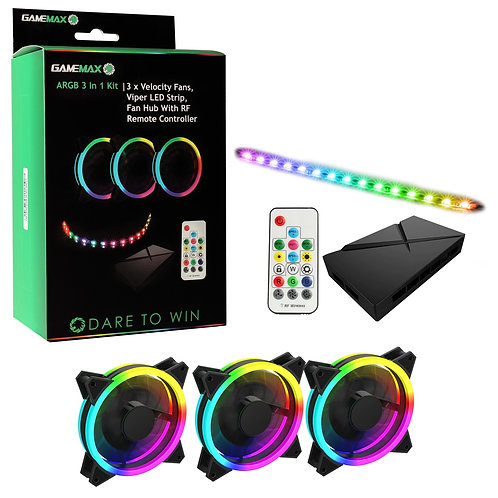 Game Max Addressable RGB 3-in-1 Kit with 3 Velocity Fans, 0.3m Viper LED Strip