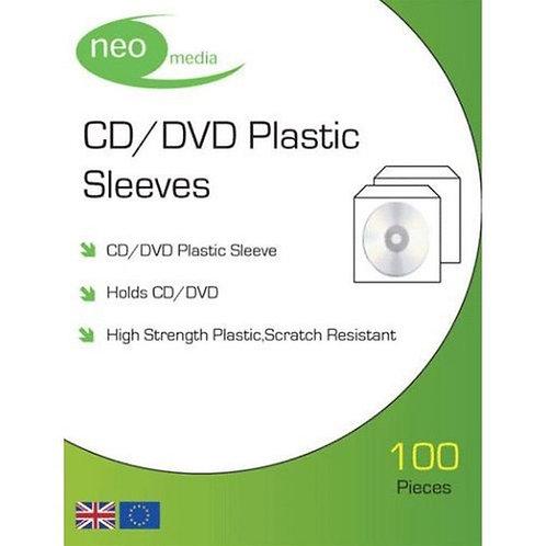 CD/DVD Plastic Sleeves Pack of 100