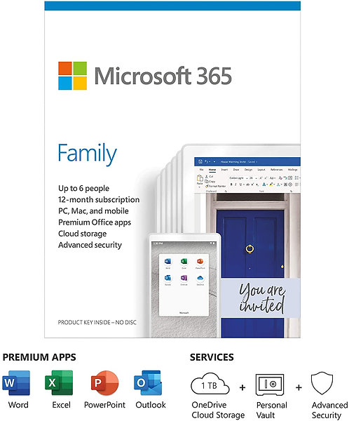 Microsoft Office 365 Family, 6 Users, 1 Year Subscription
