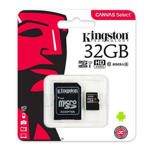 32GB Kingston Canvas Select Micro SD Card with SD Adapter, Class 10