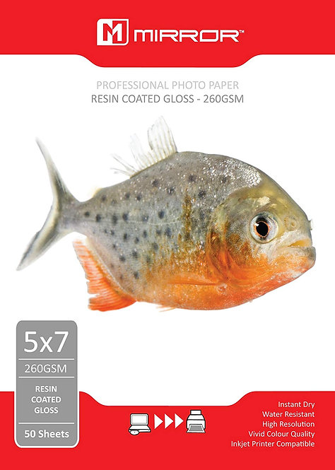 Mirror 260 GSM Resin Coated Gloss Paper (Pack of 50)