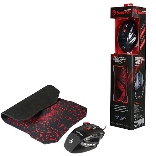 Marvo Scorpion M315 USB 7 Colour LED Black Gaming Mouse with G1 Small Gaming Mou