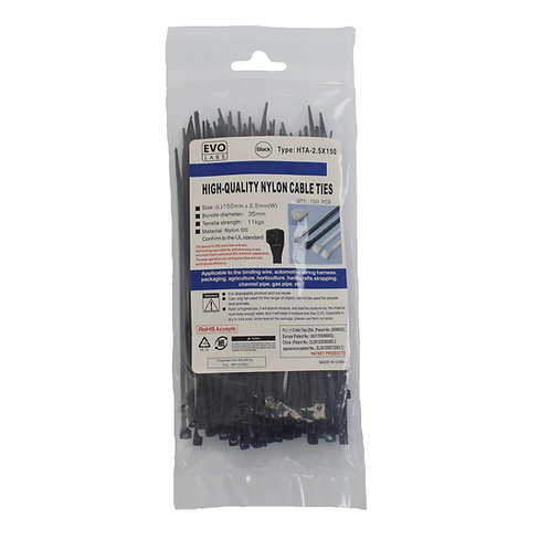 Black Cable Ties 150 x 2.5mm 100 Pack
