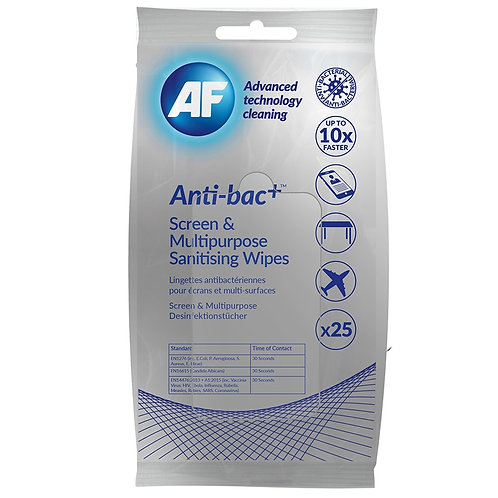 AF Anti-bacterial sanitizing screen and multi-purpose wipes 25 Pack