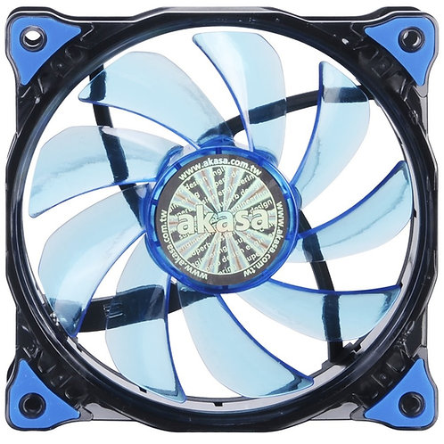 Akasa Vegas 120mm 1200RPM Ultra Quiet Blue or Red LED Fan