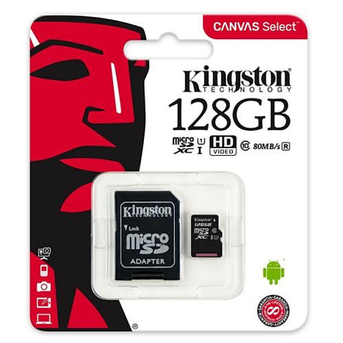 128GB Kingston Canvas Select Micro SD Card with SD Adapter, Class 10