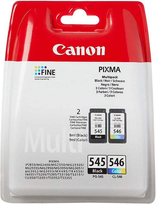 Canon Original Ink Cartridges PG-545 Black and CL-546 Colour twin pack