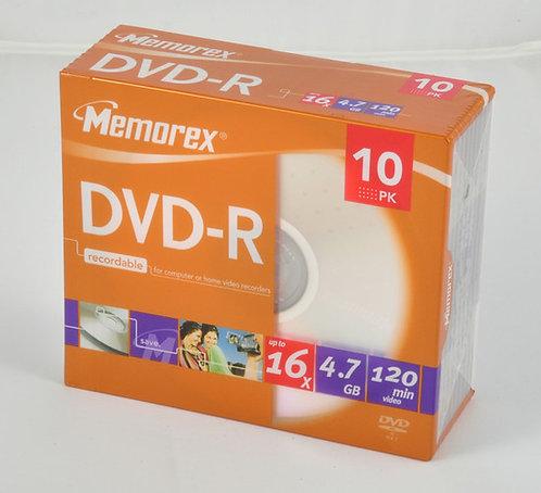 Memorex DVD-R SLIM RECORDABLE 4.7GB 16X 120MIN 10 PACK