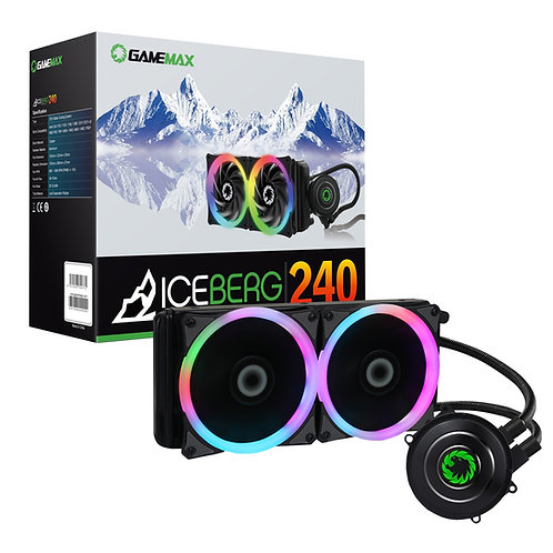 GameMax Iceberg Universal Socket 240mm PWM 1800RPM RGB LED AiO Liquid CPU Cooler