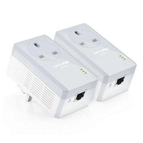 TP-LINK AV600 10/100 Powerline Adapter Kit, 1-Port, AC Passthrough