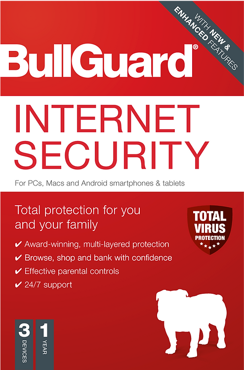 Bullguard Internet Security 2020 Retail, 3 User - PC, Mac & Android, 1 Year