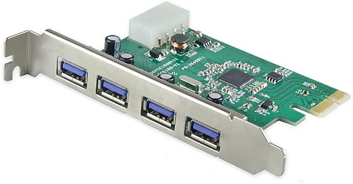 4 Port External USB 3.0 PCIe x1 Molex Powered Card Eltron Chipset