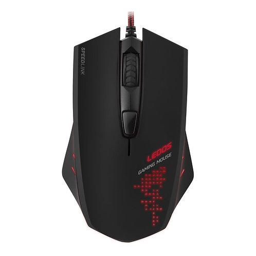 Ledos 3000dpi Optical Gaming Mouse with Red LED Illumination, USB Cable, Black