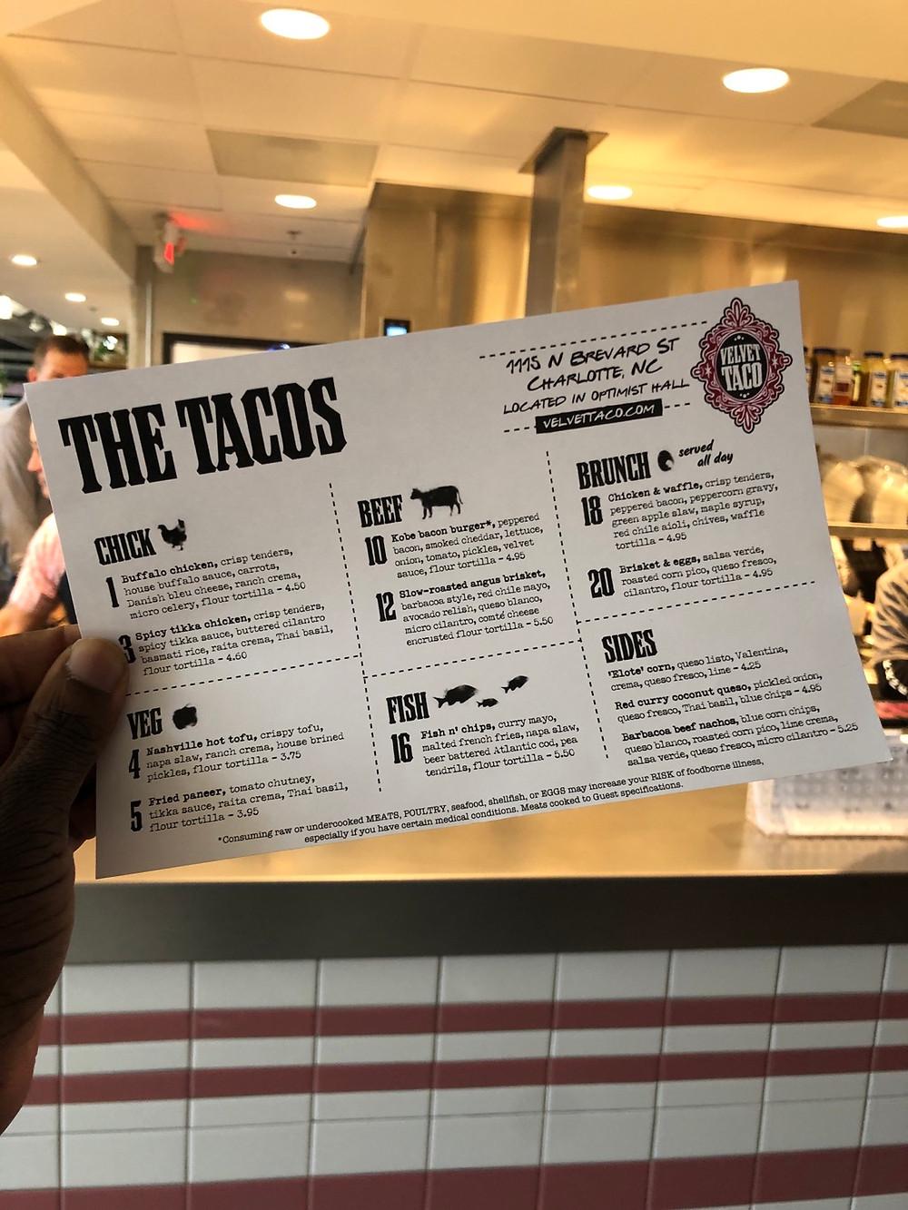 velvet taco charlotte review - menu