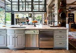 Grey cabinets on a kitchen island in Summerland CA