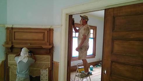 Painters staining interior trim in Montecito, CA