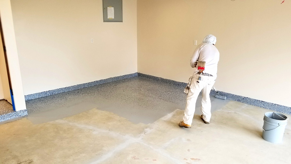 Applying 2 part epoxy paint on garage concrete floor