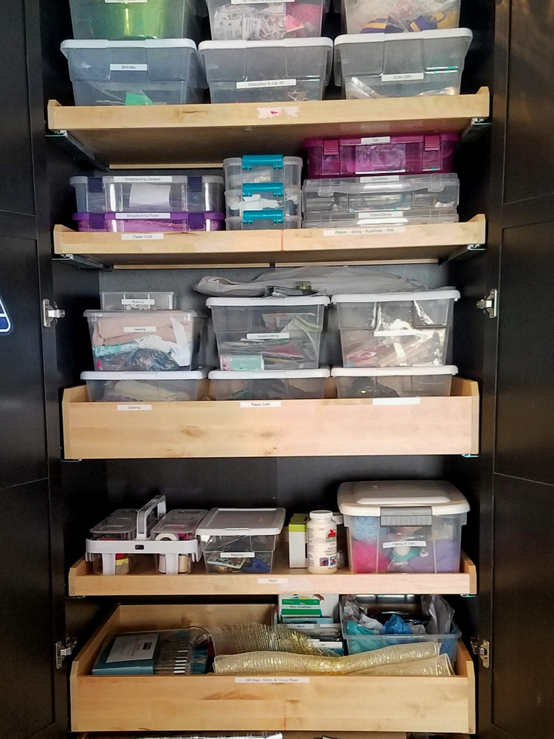Craft and Holiday Decor Cabinet Organization