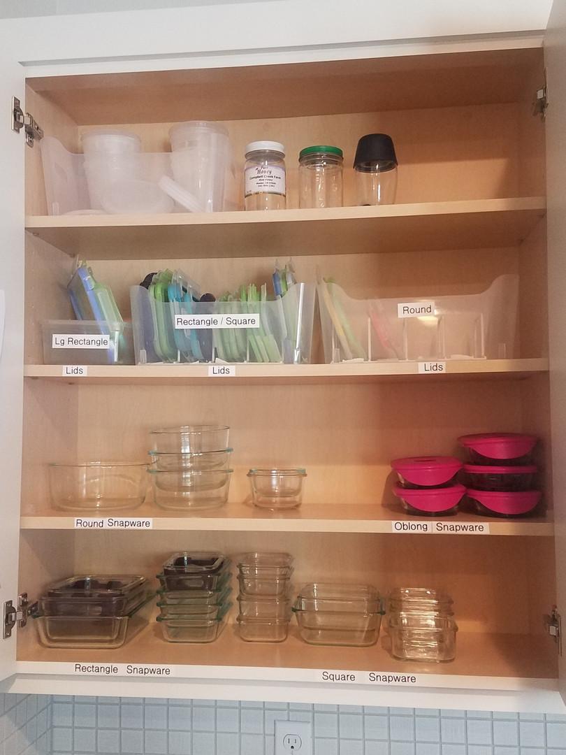 Tupperware Organization in kitchen cabinet