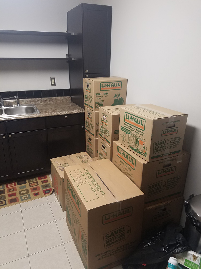 Kitchen packed and ready to move.