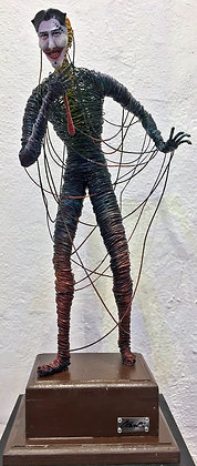 "SOLD - ""Behind the mask"" Wire Sculpture - O. Rivera"