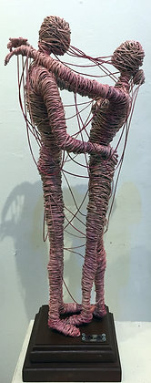 """Juntos"" Wire Sculpture - O. Rivera"