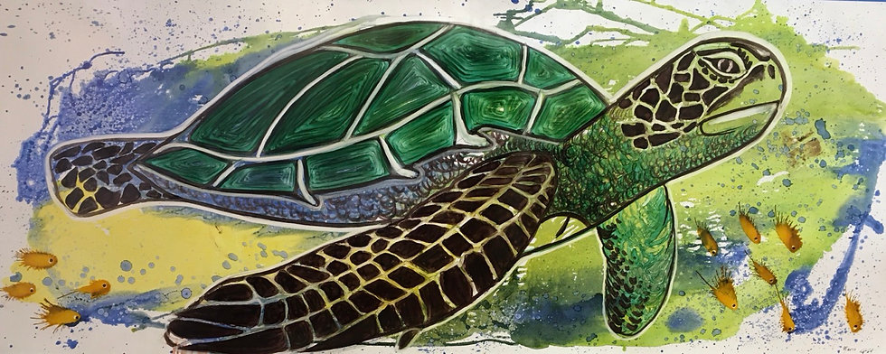 """Chelonioidea"" - M.Pat /Original Painting on paper"