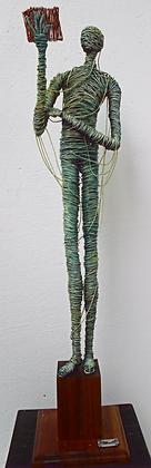 "SOLD ""El lector"" Wire Sculpture - O. Rivera"
