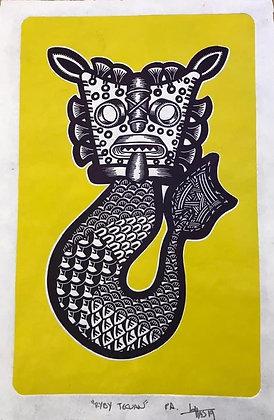 Ryby Vay Balam - Engraving on lino / Amate paper