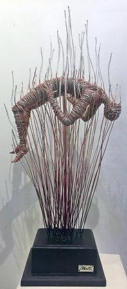 """Hombre en llamas"" Wire Sculpture - O. Rivera"