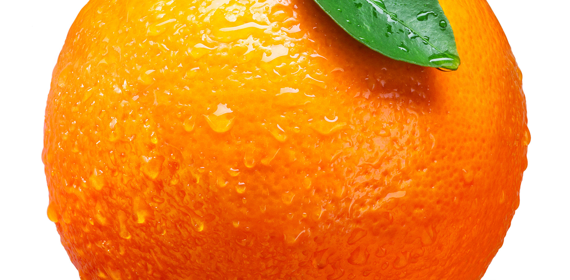 Fresh orange fruit with drops isolated o